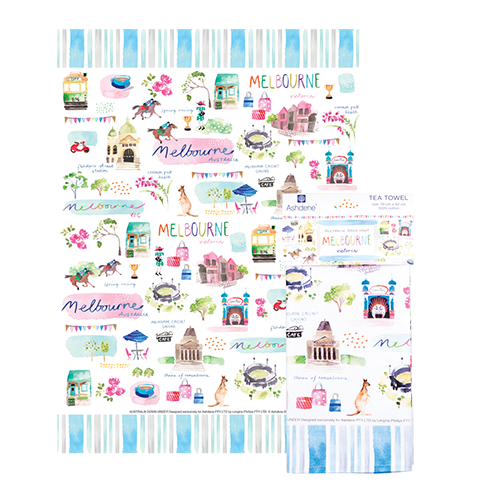 ASHDENE Australia Down Under Melbourne Tea Towel - Houzethat
