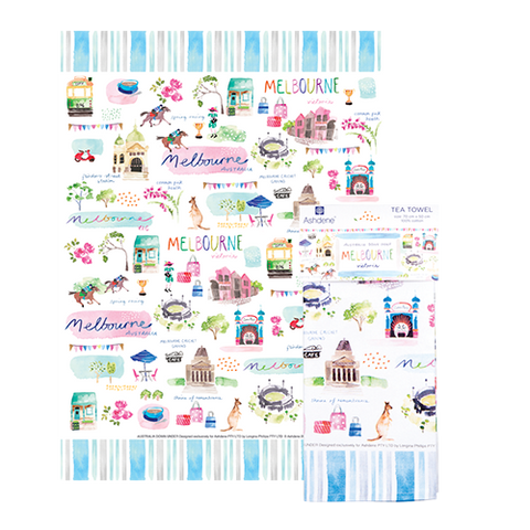 ASHDENE Australia Down Under Melbourne Tea Towel