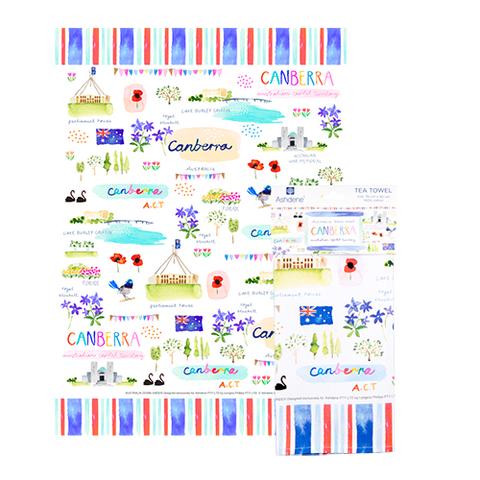 ASHDENE Australia Down Under ACT Tea Towel