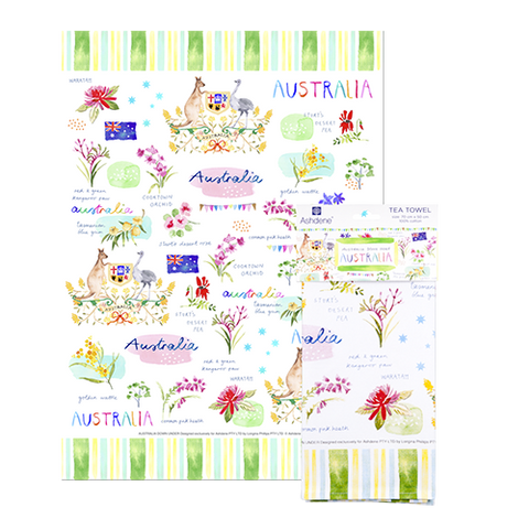 ASHDENE Australia Down Under Australia Tea Towel
