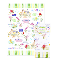 ASHDENE Australia Down Under Australia Tea Towel - Houzethat