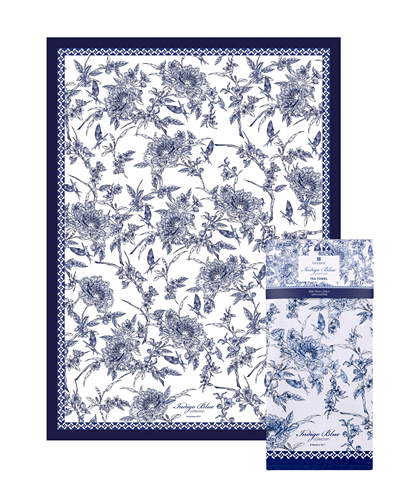 ASHDENE Tea Towel INDIGO BLUE Hummingbird