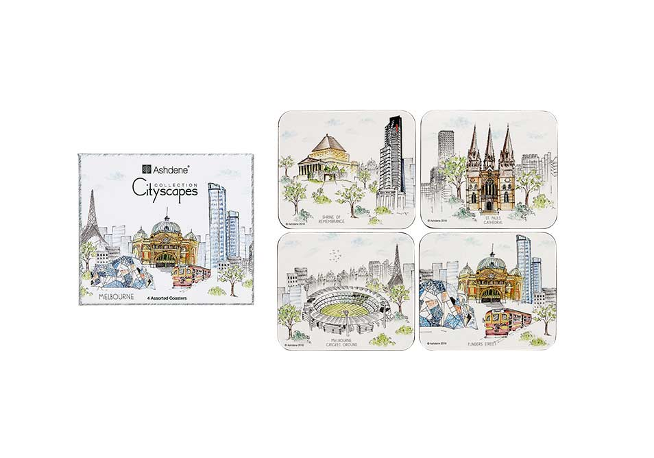 ASHDENE 4 pk Coaster Set Melbourne Cityscapes