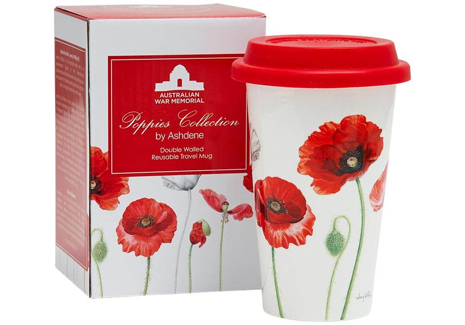 ASHDENE Double Walled Travel Mug Poppies