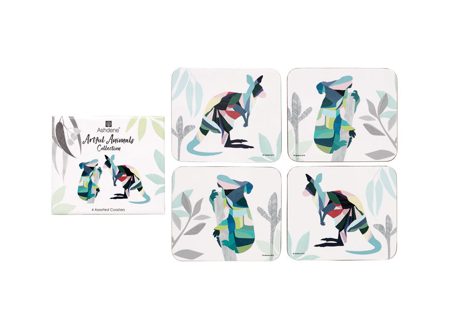 ASHDENE Artful Animals Australia 4 pk Coaster Set