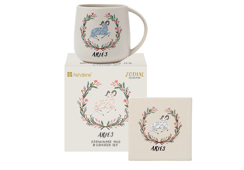 ASHDENE  Zodiac Aries Mug & Coaster Set