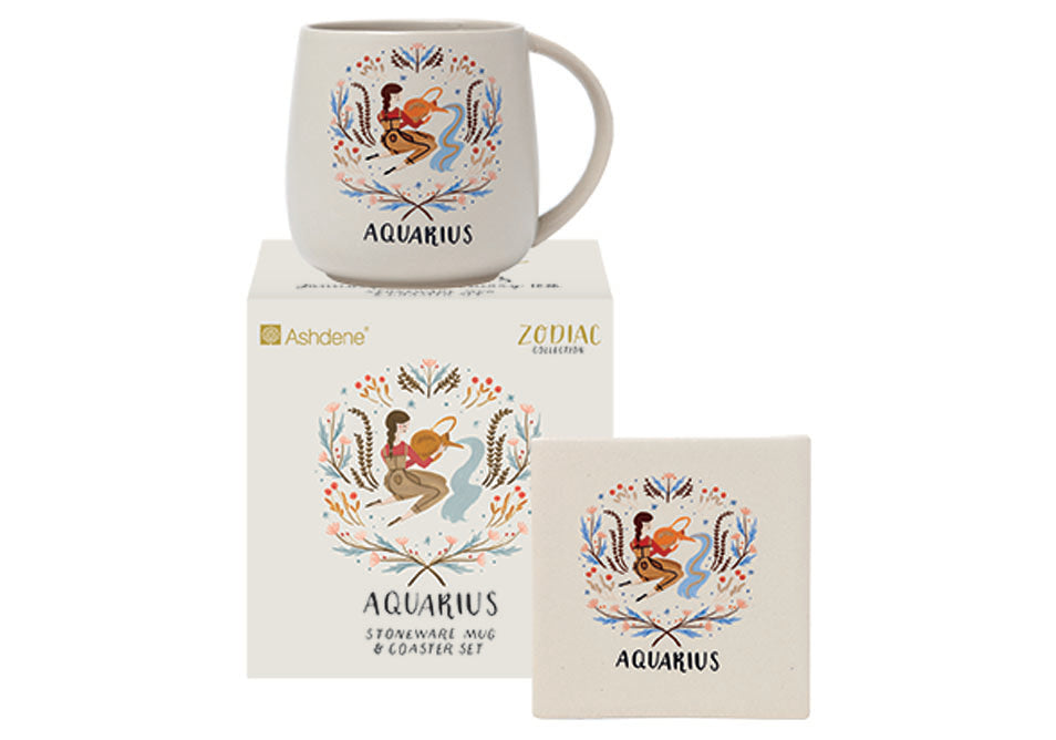 ASHDENE  Zodiac Aquarius Mug & Coaster Set