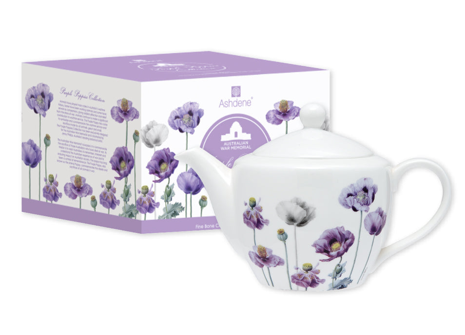 ASHDENE Infuser Teapot Purple Poppies