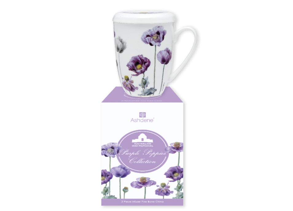 ASHDENE 3pc Infuser Set Purple Poppies