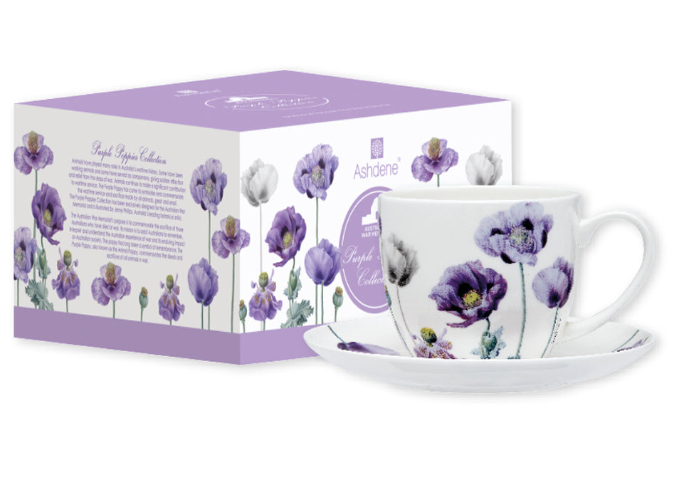 ASHDENE Teacup & Saucer Purple Poppies