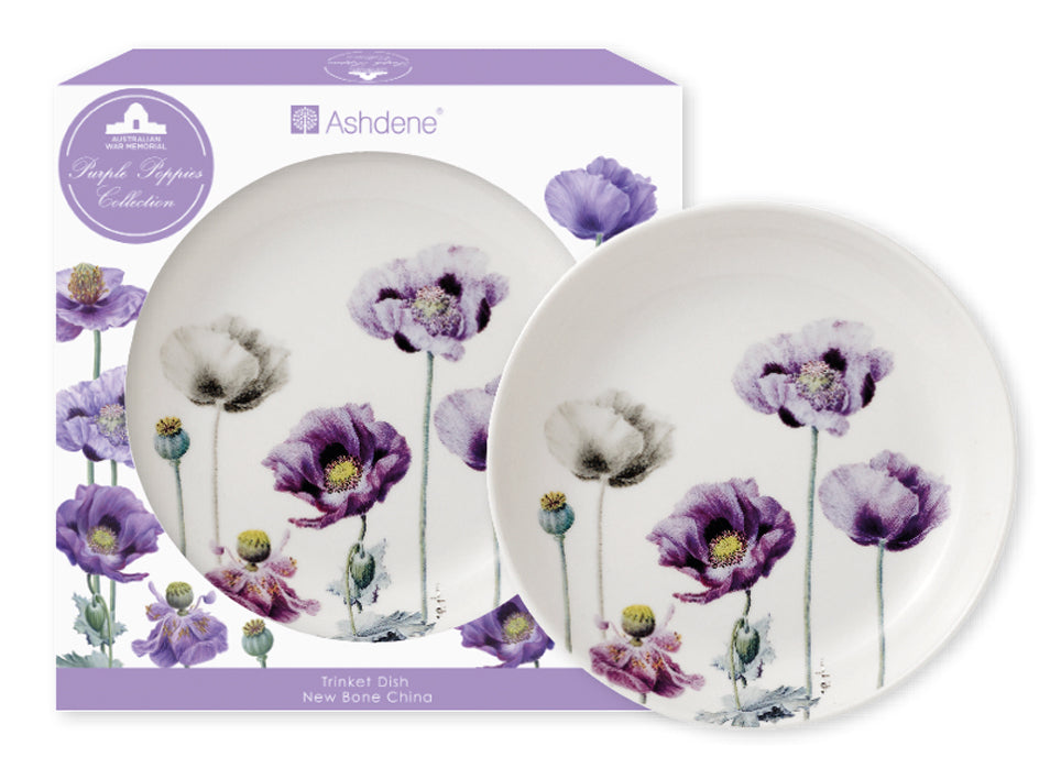 ASHDENE 2pk Trinket Dishes Purple Poppies