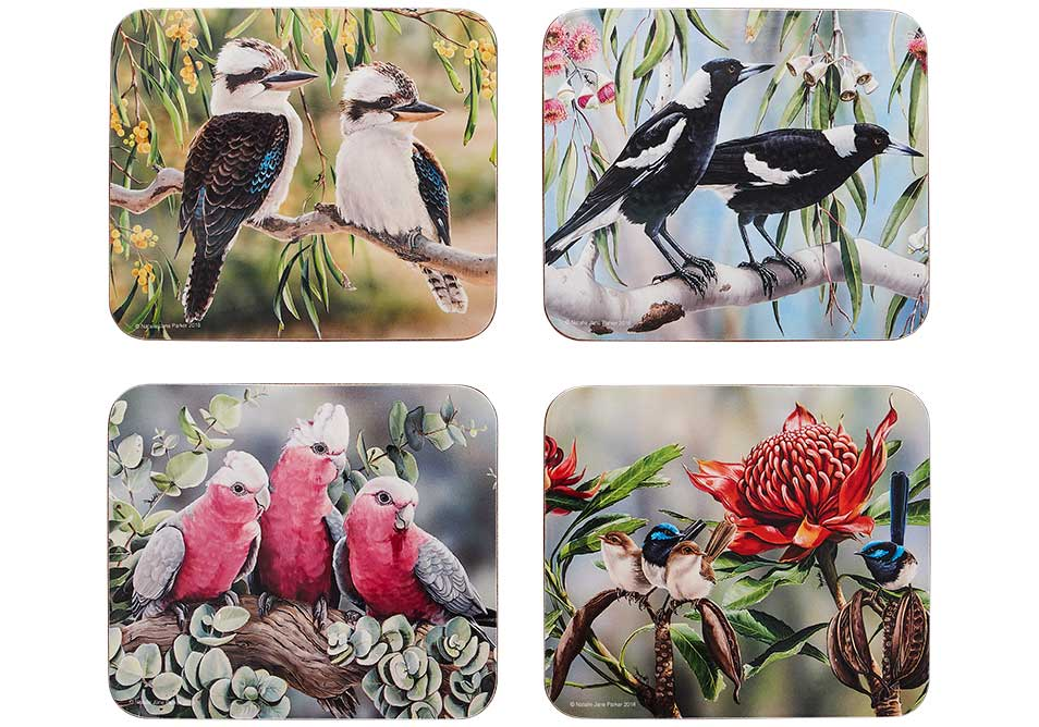 Ashdene Coasters Australian Bird and Flora - Set of 4