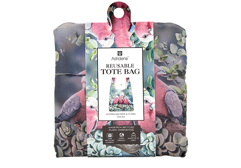 Ashdene Recycled Reusable Shopping Bag Galah & Silver Dollar Eucalyptus - Australian Bird and Flora