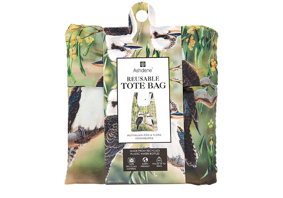 Ashdene Recycled Reusable Shopping Bag Kookaburra & Wattle - Australian Bird and Flora