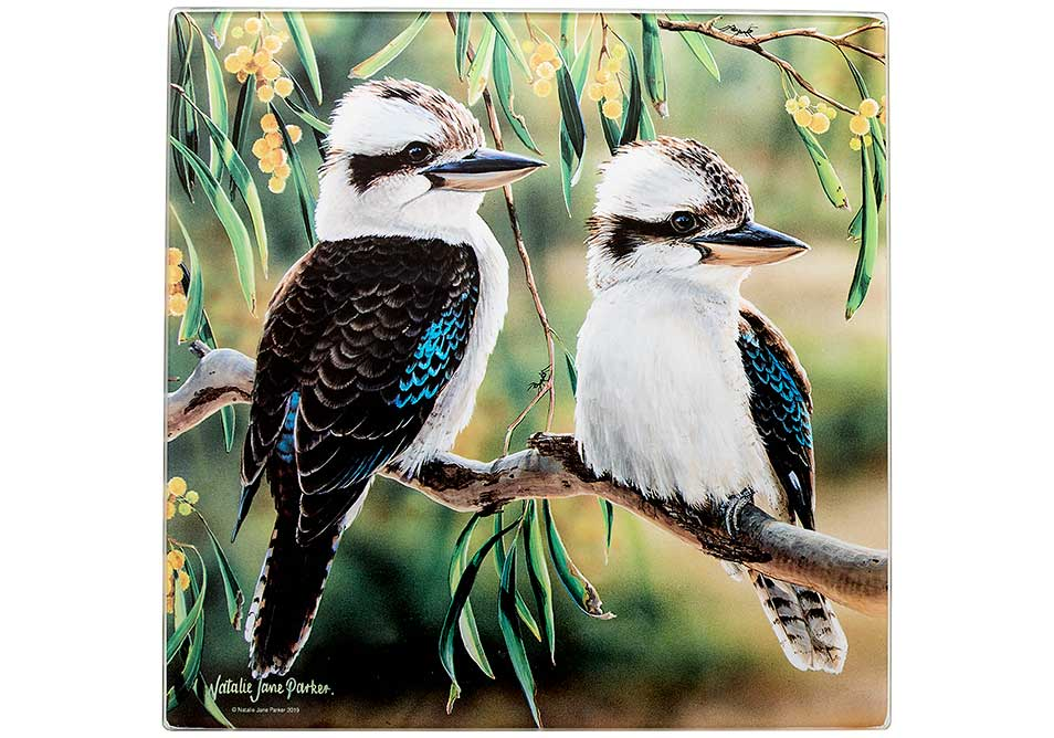 Ashdene Glass Trivet Kookaburra & Wattle - Australian Bird and Flora