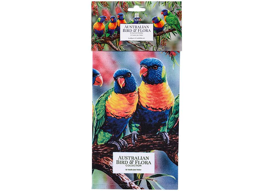 Ashdene Tea Towel Lorikeet & Bottlebrush - Australian Bird and Flora