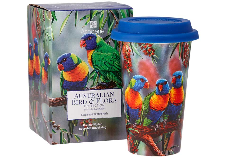 Ashdene Travel Mug Lorikeet & Bottlebrush - Australian Bird and Flora