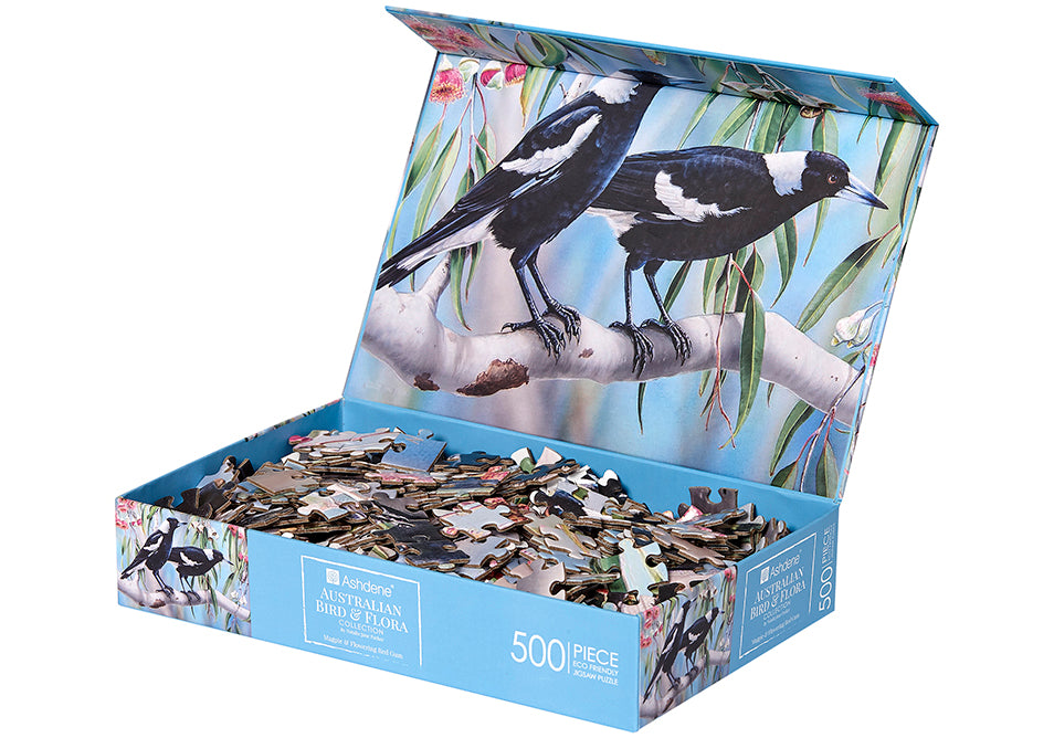 Magpie & Flowering Red Gum Puzzle 500 Piece - Fauna of Australia