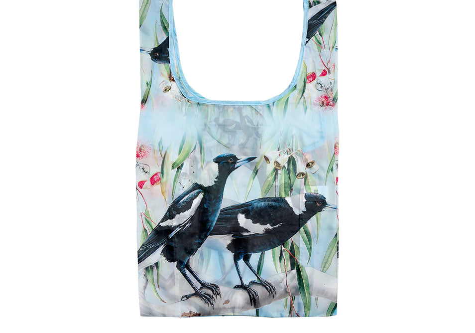 Ashdene Recycled Reusable Shopping Bag Magpie & Flowering Red Gum - Australian Bird and Flora
