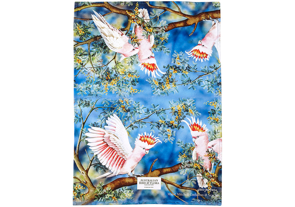 Ashdene Tea Towel Major Mitchell & Acacia - Australian Bird and Flora