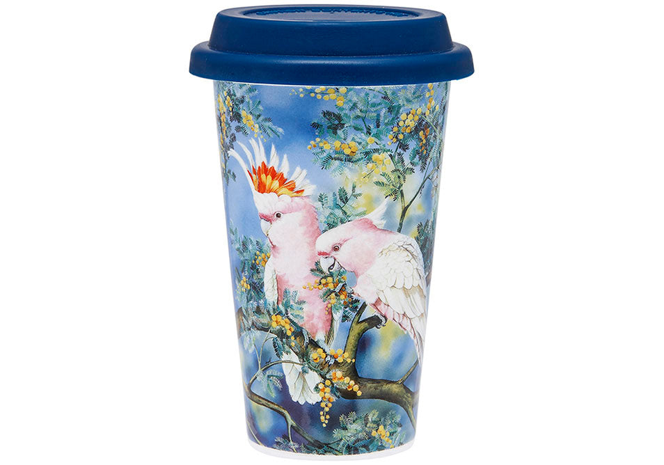 Ashdene Travel Mug Major Mitchell & Acacia - Australian Bird and Flora