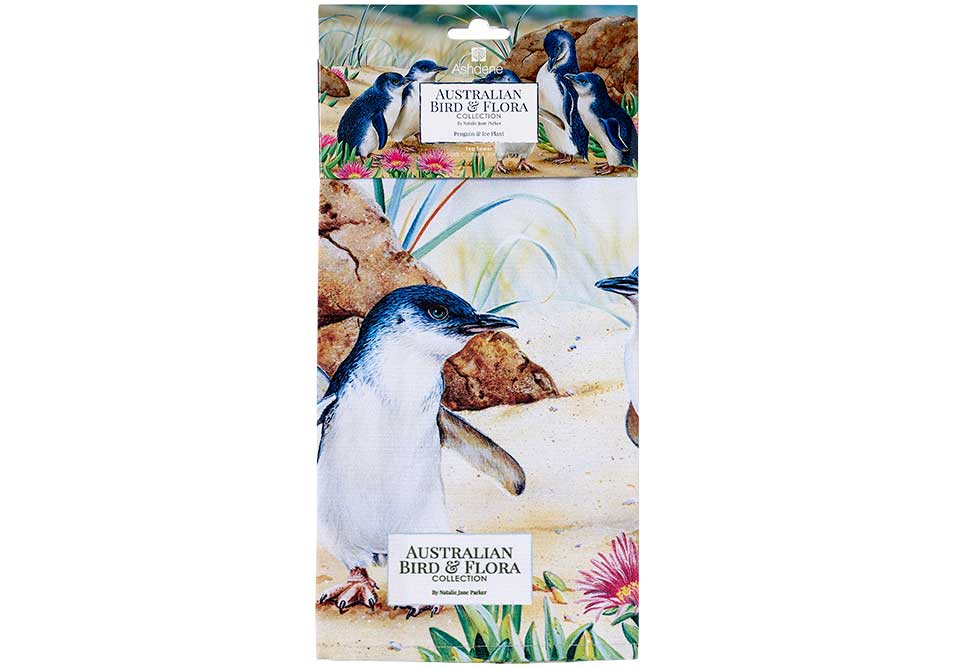Ashdene Tea Towel Penguin & Ice Plant- Australian Bird and Flora