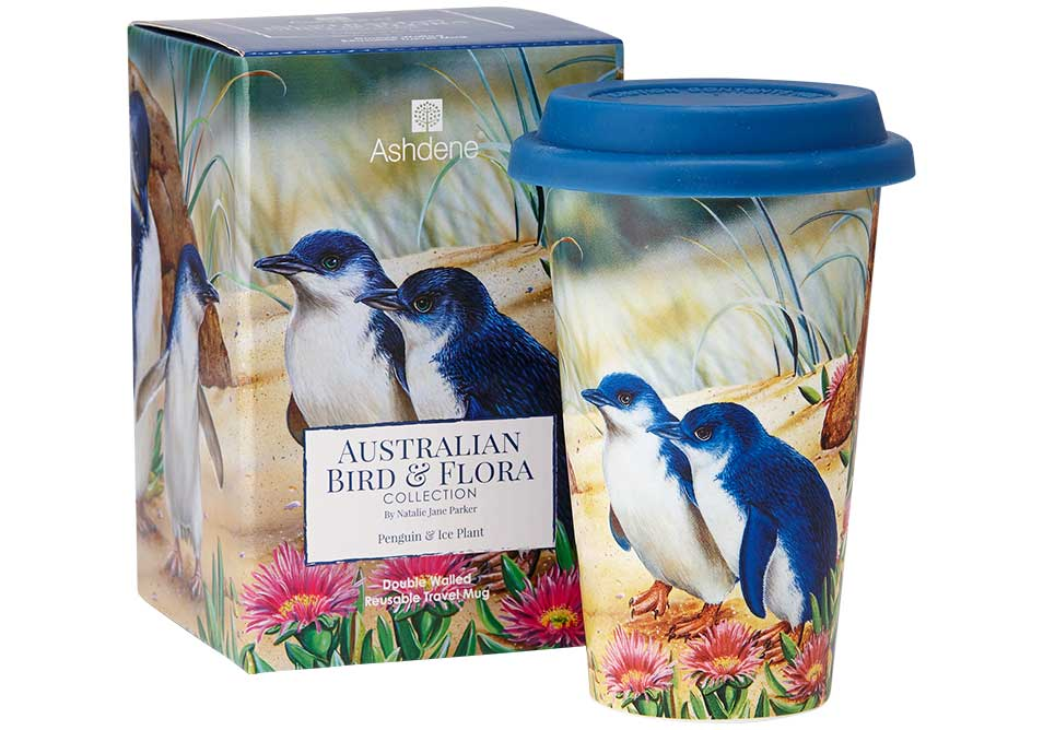 Ashdene Travel Mug Penguin & Ice Plant - Australian Bird and Flora