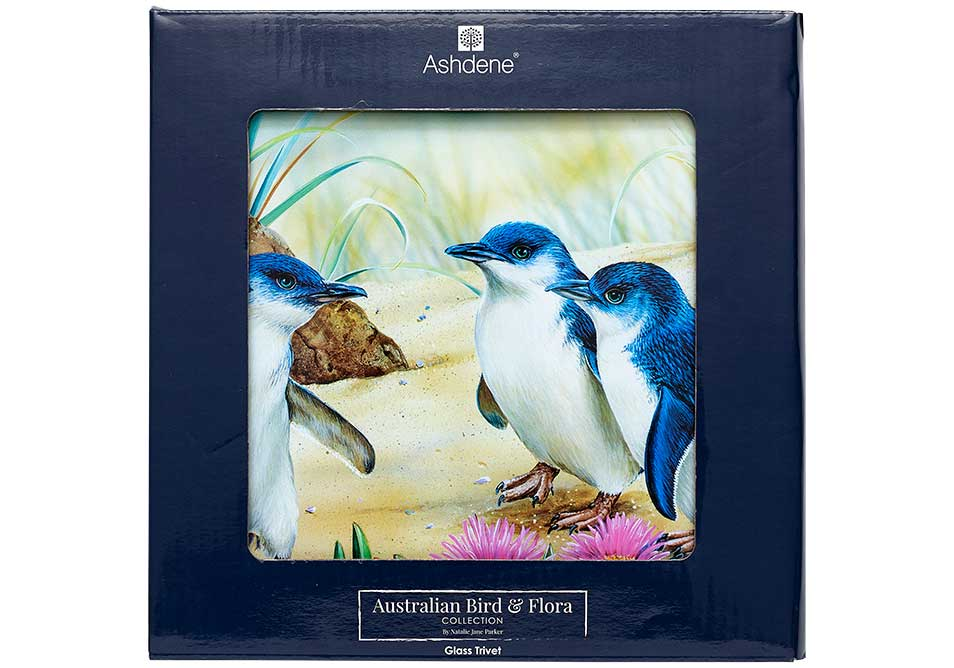Ashdene Glass Trivet Penguin & Ice Plant - Australian Bird and Flora