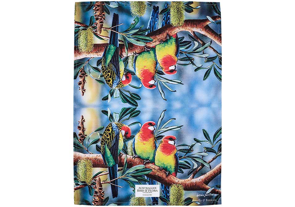 Ashdene Tea Towel Rosella & Banksia - Australian Bird and Flora