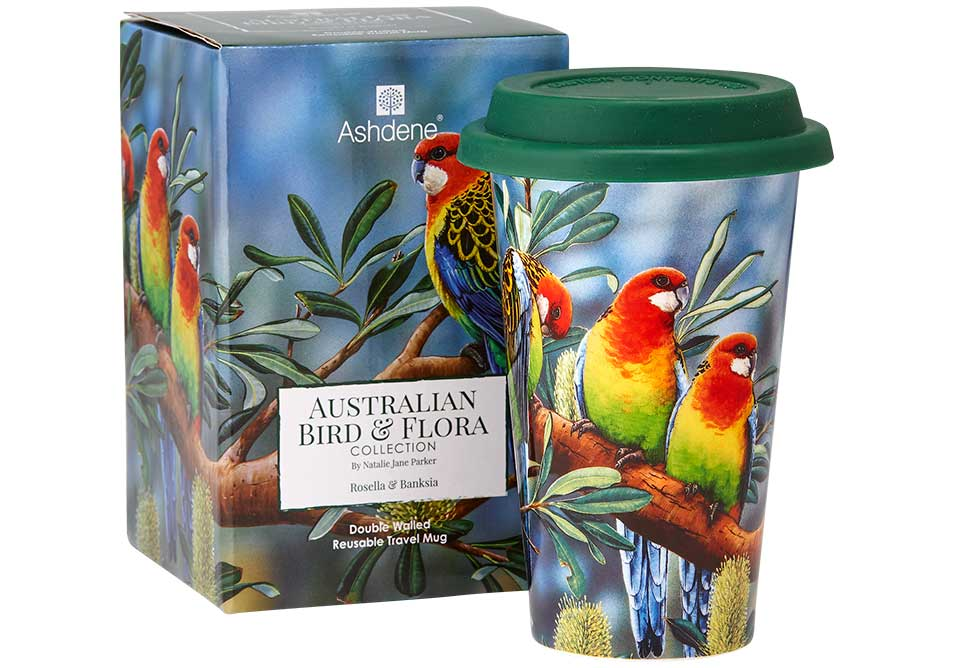 Ashdene Travel Mug Rosella & Banksia - Australian Bird and Flora
