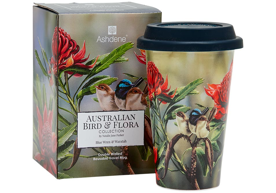 Ashdene Travel Mug Blue Wren & Waratah - Australian Bird and Flora
