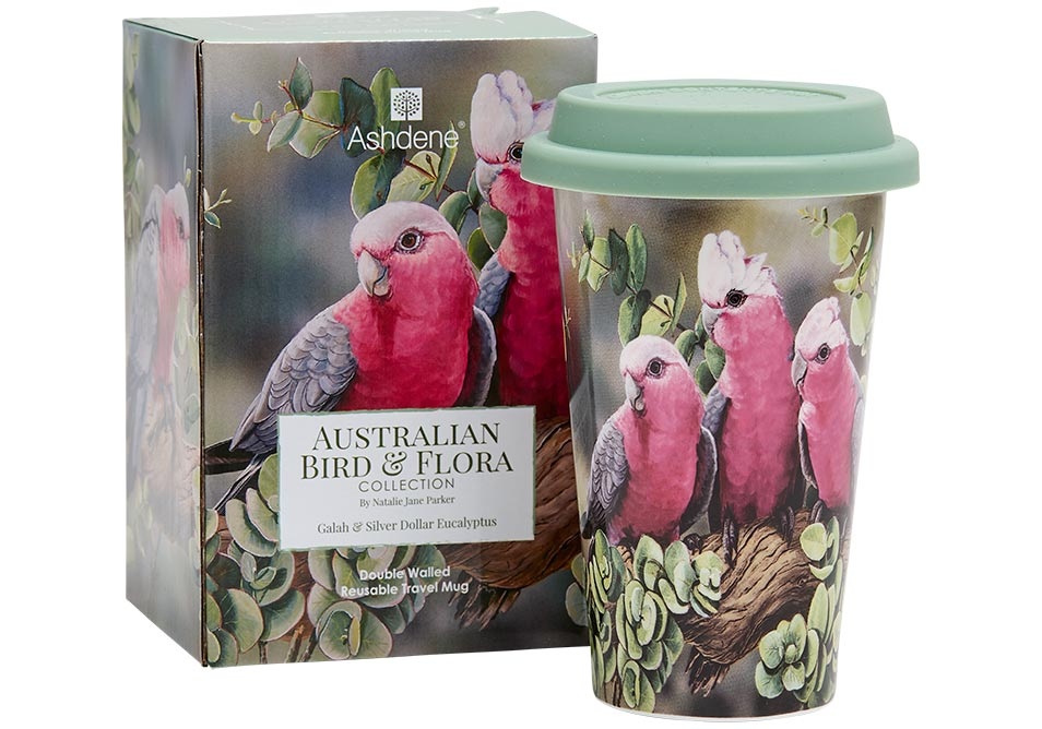 Ashdene Travel Mug Galah & Silver Dollar Eucalyptus - Australian Bird and Flora