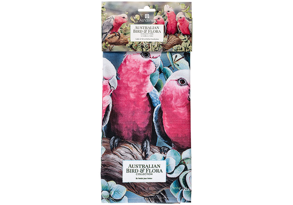 Ashdene Tea Towel Galah & Silver Dollar Eucalyptus - Australian Bird and Flora