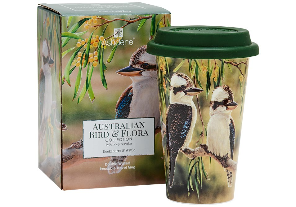 Ashdene Travel Mug Kookaburra & Wattle - Australian Bird and Flora