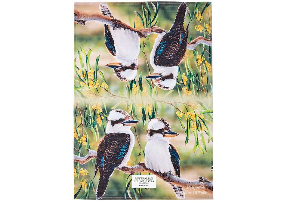 Ashdene Tea Towel Kookaburra & Wattle - Australian Bird and Flora