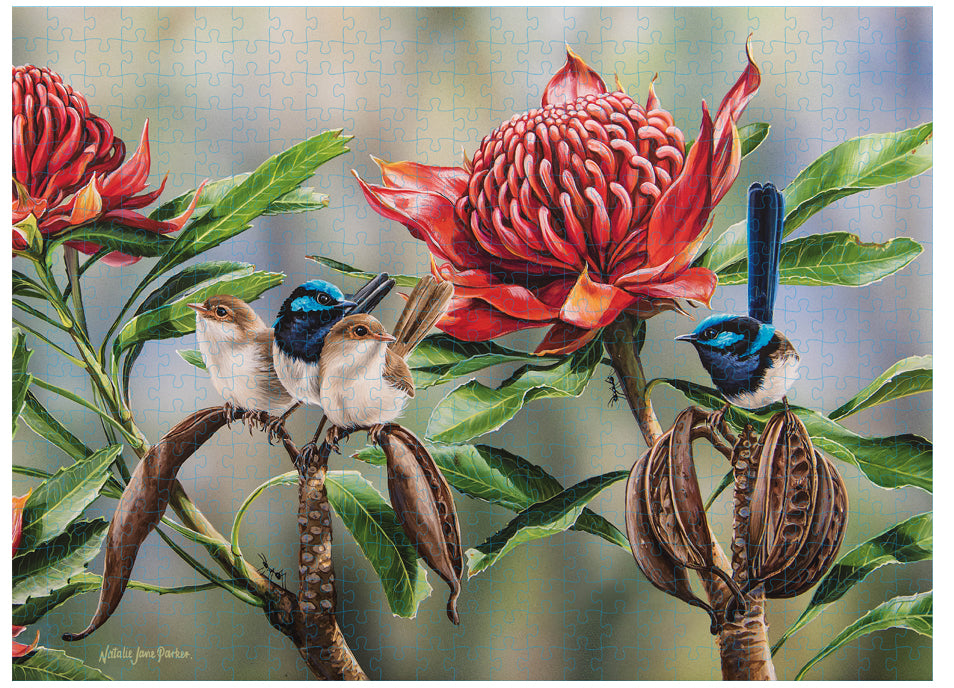 Blue Wren & Waratah Puzzle 500 Piece - Australian Bird and Flora