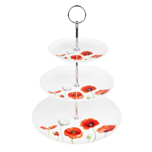 ASHDENE Poppies 3 Tier Cake Stand  (Bone China )