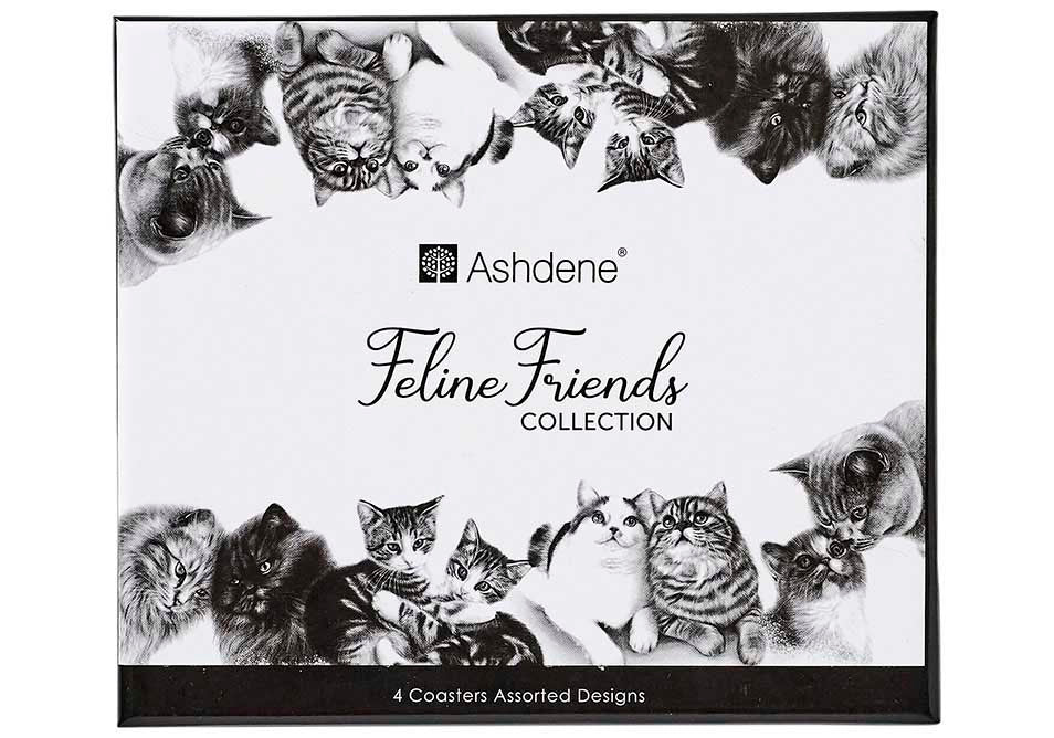 ASHDENE Coasters Feline Friends - Set of 4