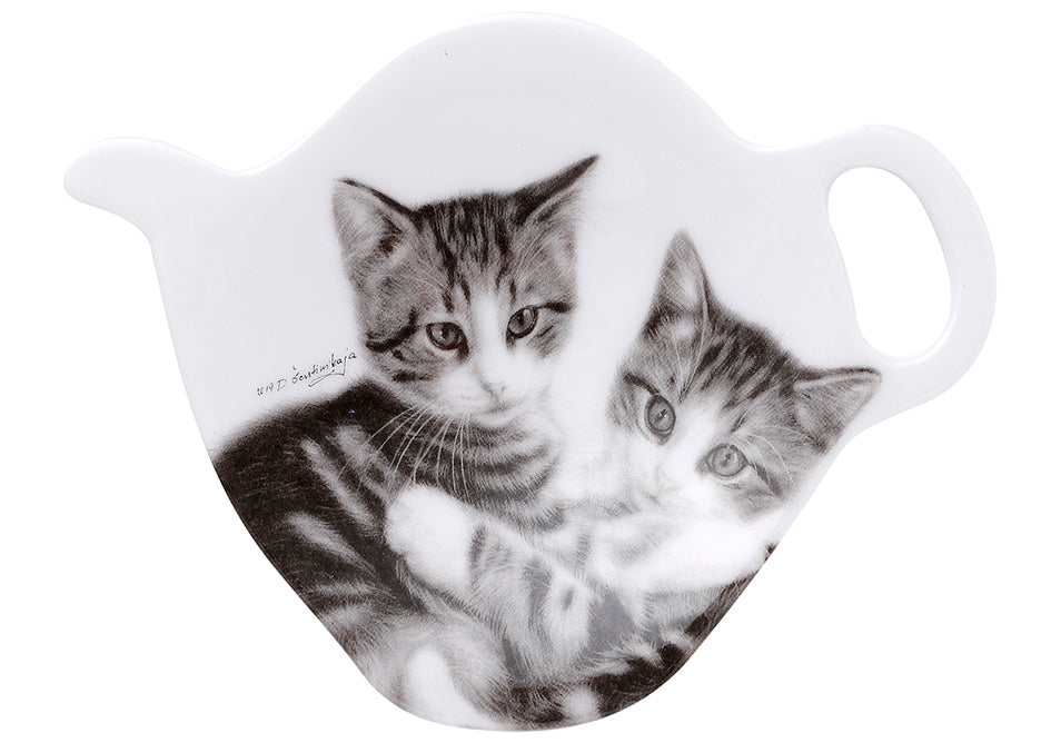 ASHDENE Feline Friends Cuddling Kittens Tea Bag Holder