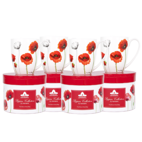 ASHDENE Coupe Mug Set of 4 Poppies