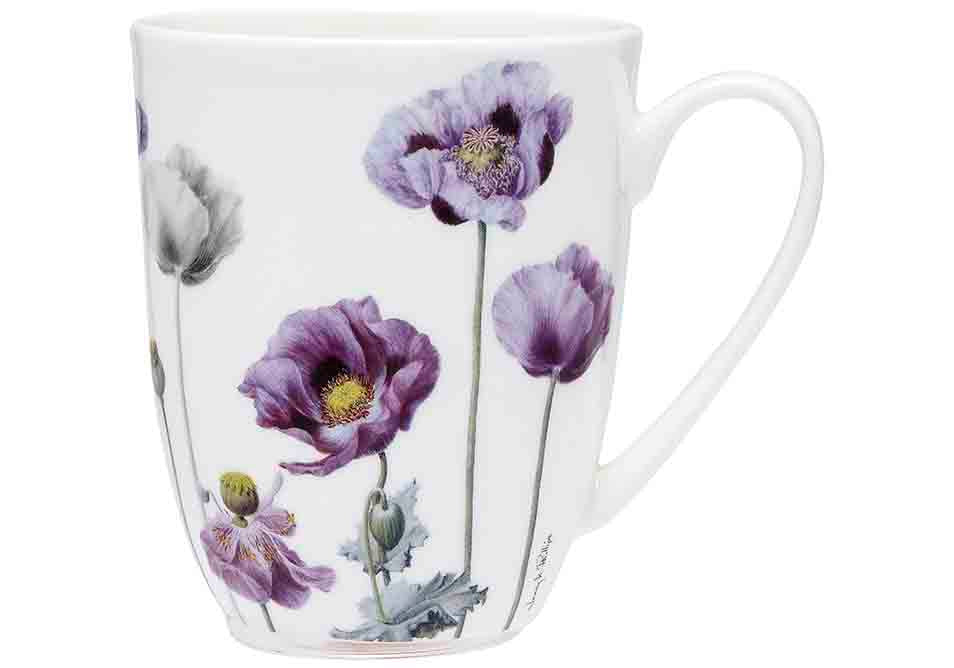 ASHDENE Set of 4 Coupe Mugs Purple Poppies