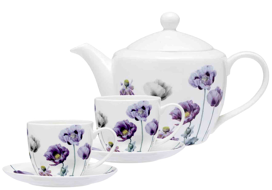 ASHDENE Teapot, Cup & Saucer Set Purple Poppies
