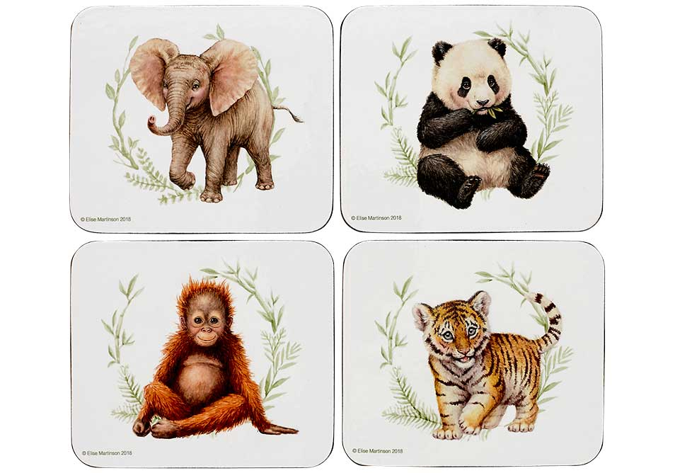 ASHDENE Set of 4 Coasters Wild Baby Animals