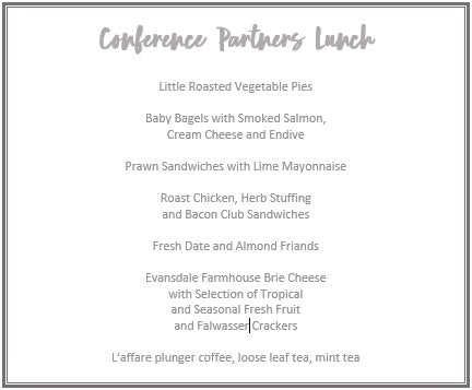 """Ruth Pretty Catering - Corporate Catering - Offsite Day Catering - Conference Partners Menu"""