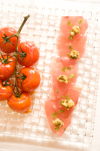 Tuna Carpaccio with Green Olive Paste and Roasted Vine Tomatoes