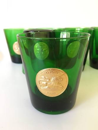 Vintage Byrrh Thuir French Vermouth Glasses - Green w Gold Lion Seal