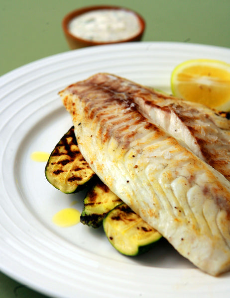 GRILLED SNAPPER AND ZUCCHINI WITH MINT RAITA