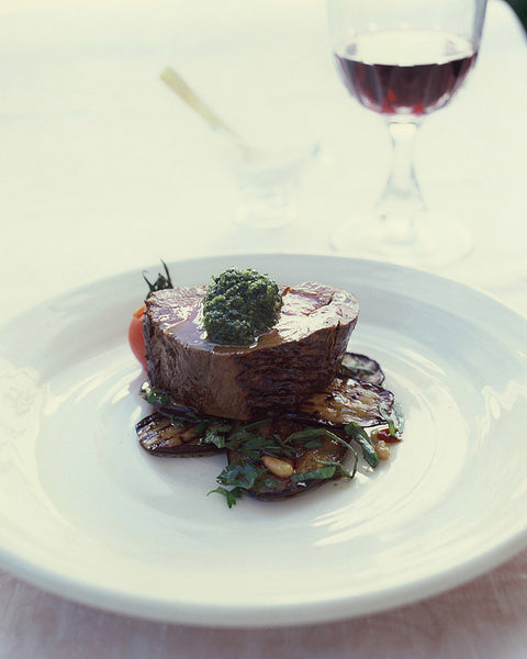 Roasted Fillet of Beef, Herbed Eggplant and Salsa Verde