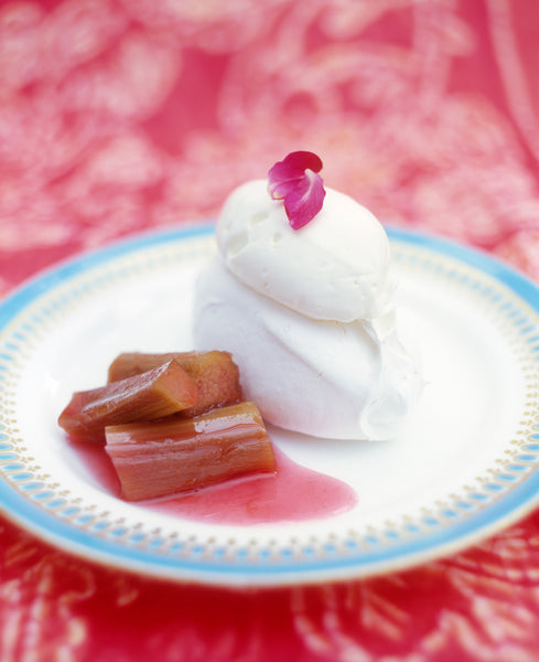 Baked Rhubarb and Rose Geranium Compote with Little Pavlovas