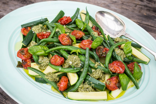 Harvest Salad with Roasted Tomatoes and Basil Pesto Dressing